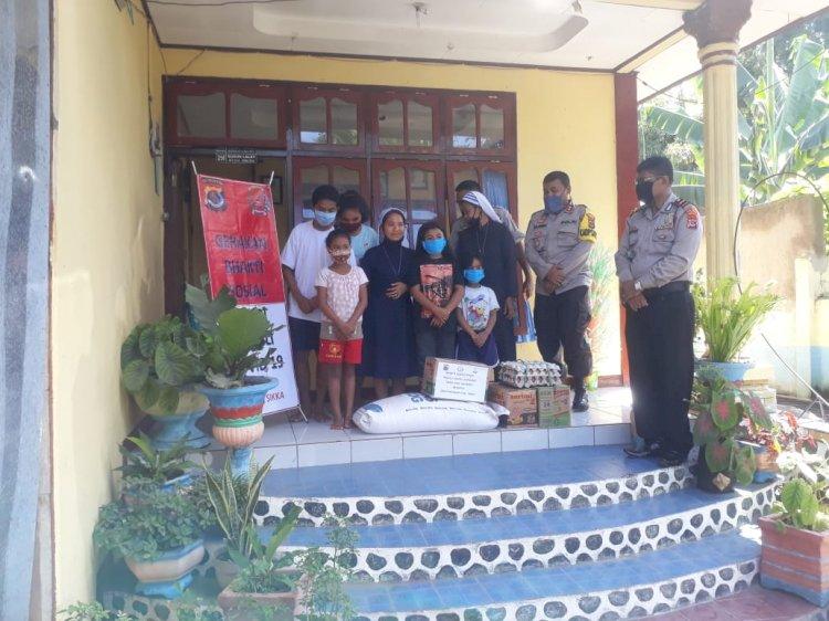 Kapolres Sikka Berikan Bantuan Sembako Kepada Panti Asuhan Alma Desa Nita
