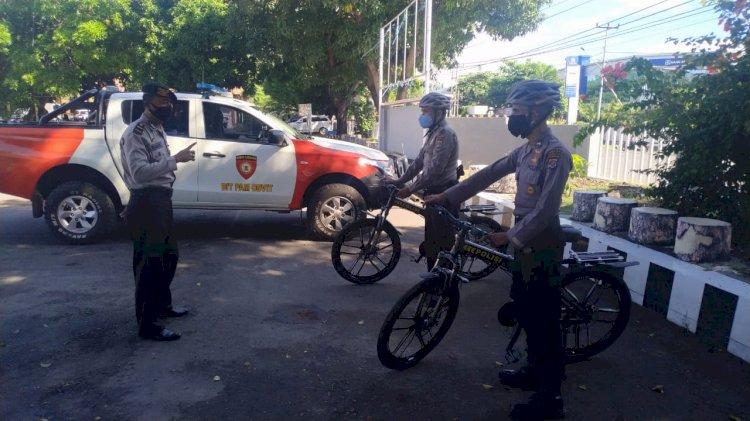 Sat Samapta Polres Sikka Laksanakan Patroli Bersepeda Himbau Cegah Covid–19.