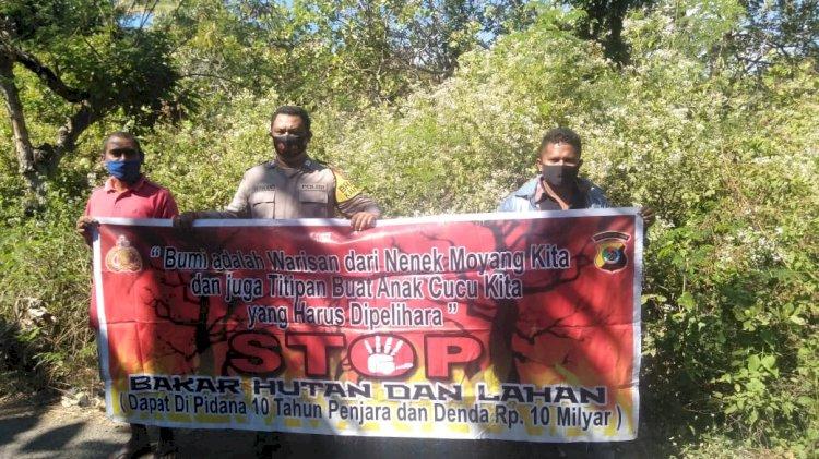Bhabinkamtibmas Polsek Kewapante Sosialisasi Himbauan Pencegahan Karhutla Kepada Masyarakat